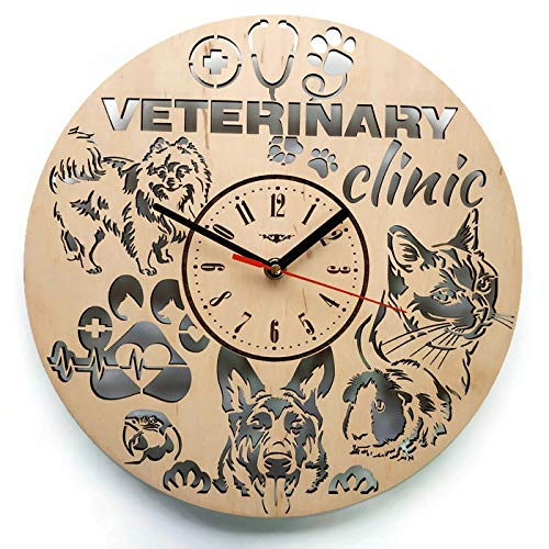 ShareArt Veterinarian Analog Wood Wall Clock - Non Ticking Quartz Wall Clocks Battery Operated - Cute Rustic Bedroom Kitchen Office Wall Decor - Unique Custom and Personalized Gifts - 12 Inch Clock Rustic Oak Case