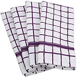 "DII Cotton Terry Windowpane Dish Towels, 16 x 26"" Set of 4, Machine Washable and Ultra Absorbent Kitchen Bar Towels-Eggplant"