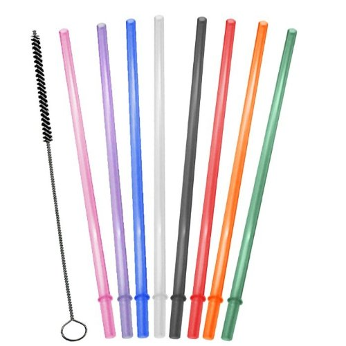 Promotional 16oz, Rainbow Colored Replacement Acrylic Straw Set of 8 /With  Cleaning Brush