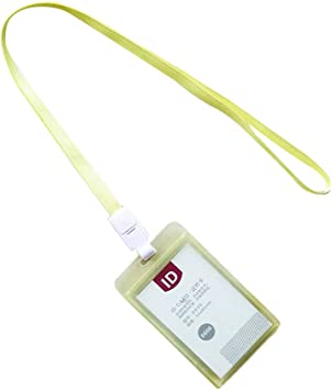 Hard Plastic ID Card Badge Holder Employee Name Tag Waterproof With Hanging Rope
