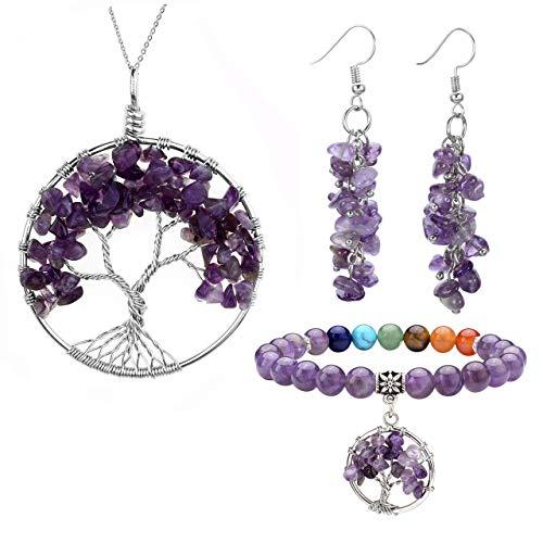 Jovivi Amethyst Healing Crystals Jewelry Sets - Tree of Life Tumbled Gemstone Necklace & Chip Stones Dangle Earrings & Healing Engergy Chakra Stretch Bracelet