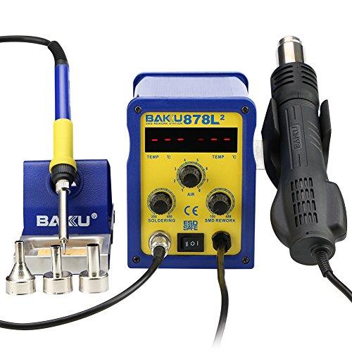 Baku Bk 878L2 110V 2 In 1 Dual Led Digital Displays Smd Soldering Rework Station  Hot Air Rework Station With Gun Solder Iron  Bk 878L2