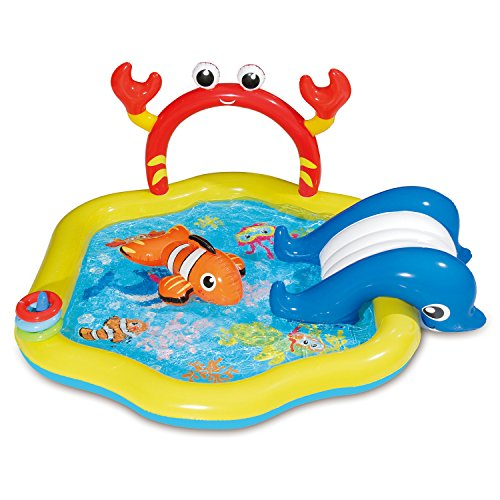 SUMMER WAVES Inflatable Under the Sea Kiddie Swimming Pool Play Center w/Slide ()