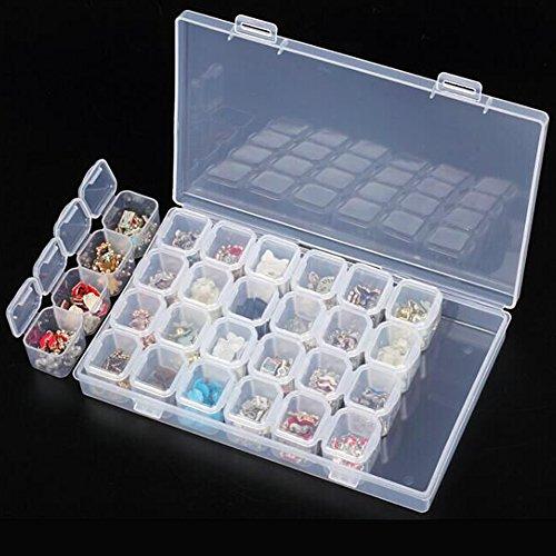Plastic Art Tool Organizer - Jocestyle Plastic 28 Slots Nail Art Tools Jewelry Storage Box Case Organizer Beads