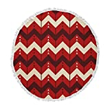 KESS InHouse Nick Atkinson Chevron Dance Red Round Beach Towel Blanket