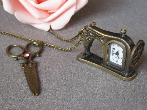 Vintage Sewing Machine Pocket Watch Necklace,retro Brass Sewing Machine with Scissors Necklace