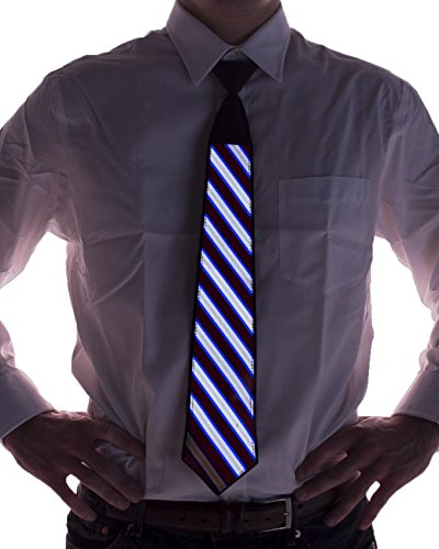 Electric Styles - Sound Activated LED Light Up Necktie, Animated Novelty Ties for Men - Striped ()
