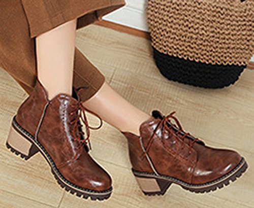 Toe Booties Lace Round Boots Womens Up Martin Retro Medium Short IDIFU Brown With Heels z6wtqHnq