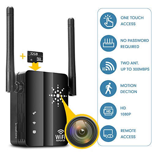 Iznvee Spy Camera Wireless Hidden Camera with Remote View - Wireless Repeater Hidden Spy Camera HD 1080P - WiFi Extender Spy Hidden cam Indoor - Home Security Surveillance Camera - No Night Vision