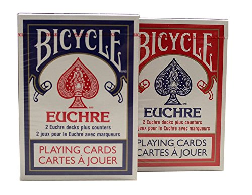 6 Decks Red And Blue Bicycle Euchre Playing Cards by US Playing Cards