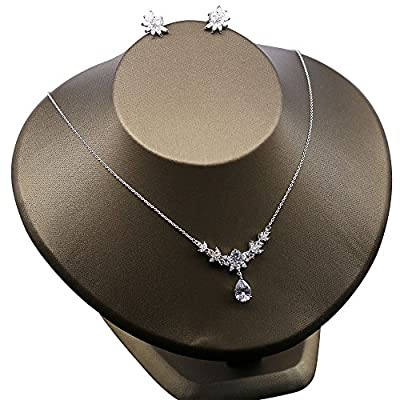 Cheap Kanrome Cubic Zirconia Necklace Earrings Jewelry Sets for Wedding free shipping