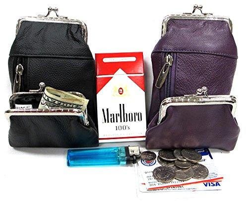 (Women's Genuine Leather Cigarette Case +Coin Purse COMBO 2pc Set BLACK + PURPLE)