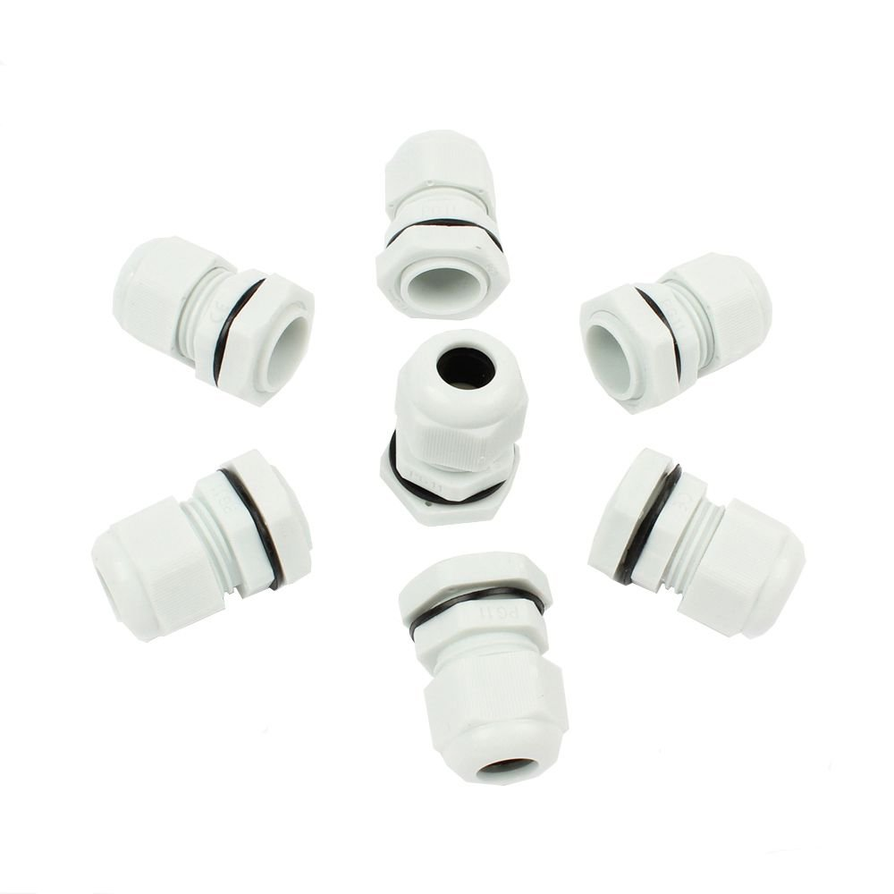 LUBAN Nylon Cable Gland Joint,PG11 Waterproof Adjustable Locknut for 5mm-10mm Dia Cable Wire (60PCS, White)