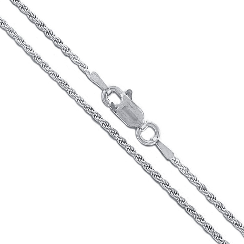 10k White Gold Solid Round Rope Link Chain 1.5mm Necklace 18''