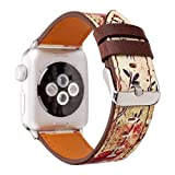 MagicFeel Retro Floral Printed Series Soft Leather Replacement Strap Wrist Watch Band Compatible for 42MM Apple Watch iwatch Series 1 Series 2 Series 3 (Retro Flower Red-42MM)