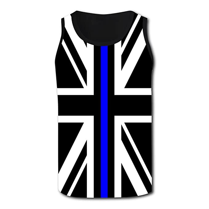 653c2a9d1a036 Union Jack Thin Blue Line Tank Top Men Singlet Plus Zise Tops Youth Vest S