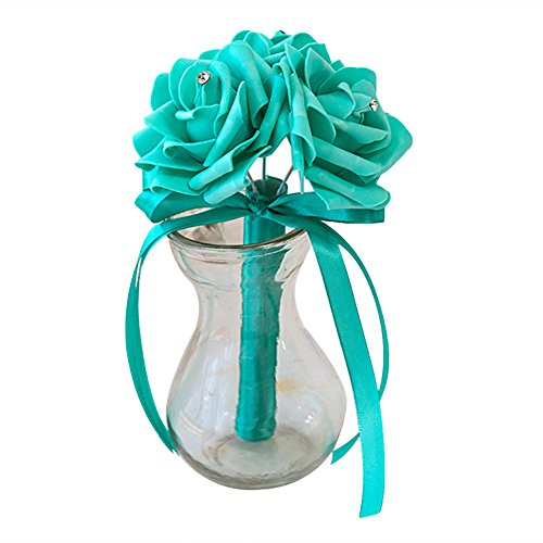 Dds5391 New 3 Heads Artificial Rose Flower Bridal Wedding Bouquet Party Banquet Home Decor - Tiffany Blue from dds5391