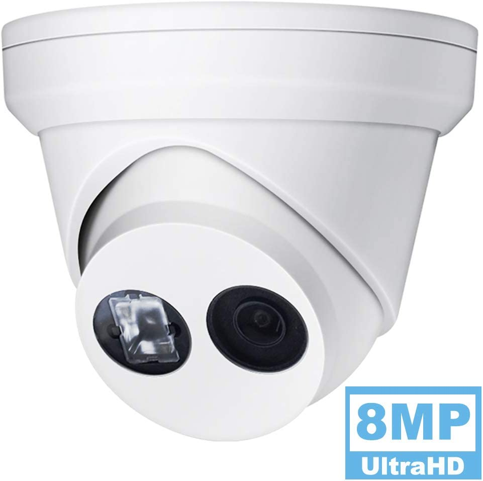 VIKYLIN 8MP UltraHD 4K Dome POE IPCamera, OEM DS-2CD2385FWD-I 4mm Lens, WDR EXIR Network Turret Security Outdoor Camera with 98ft Night Vision, H.265 , IP67, ONVIF, SD Card Slot