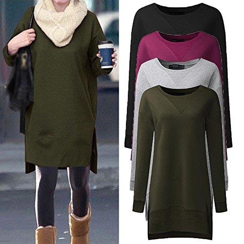 Celmia Women Casual Long Sleeve Casual Solid Tops Asymmetrical Hem Split Tunics Sweatshirts