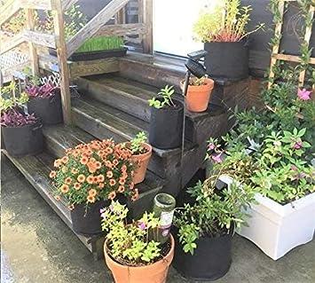 3 Gal/ón Sacos para Plantas de Malla Geotextil Bajo Interior al Aire Libre ANTEER Bolsa de Cultivo de Plantas 5 Piezas Saco de Cultivo Maceta Geotexil con Asas