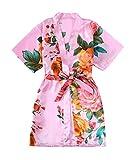 Kids' Satin Flower Girl Kimono Robe For Spa Party Wedding Birthday (Pink, Size 4)
