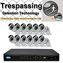 OWLTECH 16 Channel Trespassing Detection NVR support up to 5MP Resolution + 12 x 4MP 3.6mm IP Bullet Camera with Smart IR + WDR + POE + Mic Built in + 4TB HDD + 100ft cable and accessories
