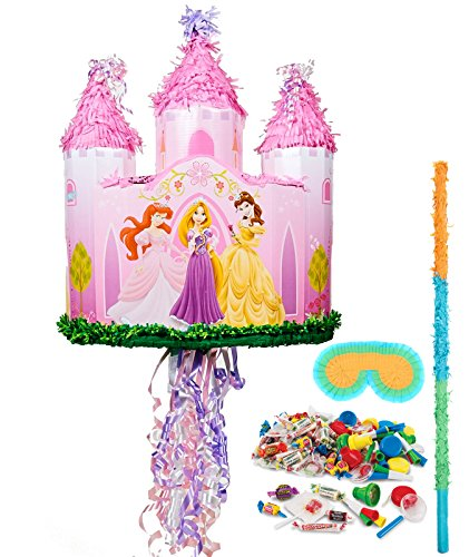 BirthdayExpress - Disney Princess Castle Pull-String Pinata Kit - Multi-Colored