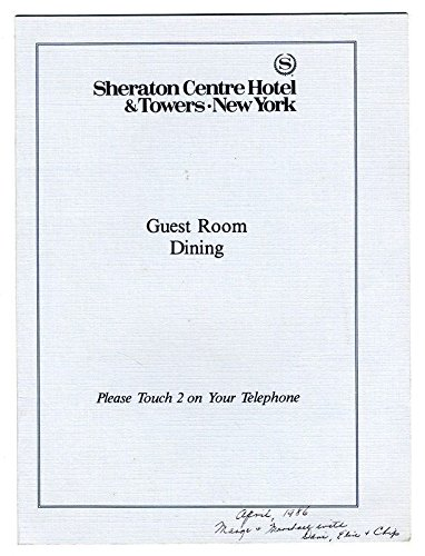 Guest Room Dining Menu Sheraton Centre Hotel & Towers New York 1986