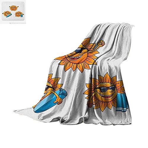 (Cartoon Custom Design Cozy Flannel Blanket Surf Sun Characters Wearing Shades and Surfboards Fun Hippie Summer Kids Design Digital Printing Blanket 60