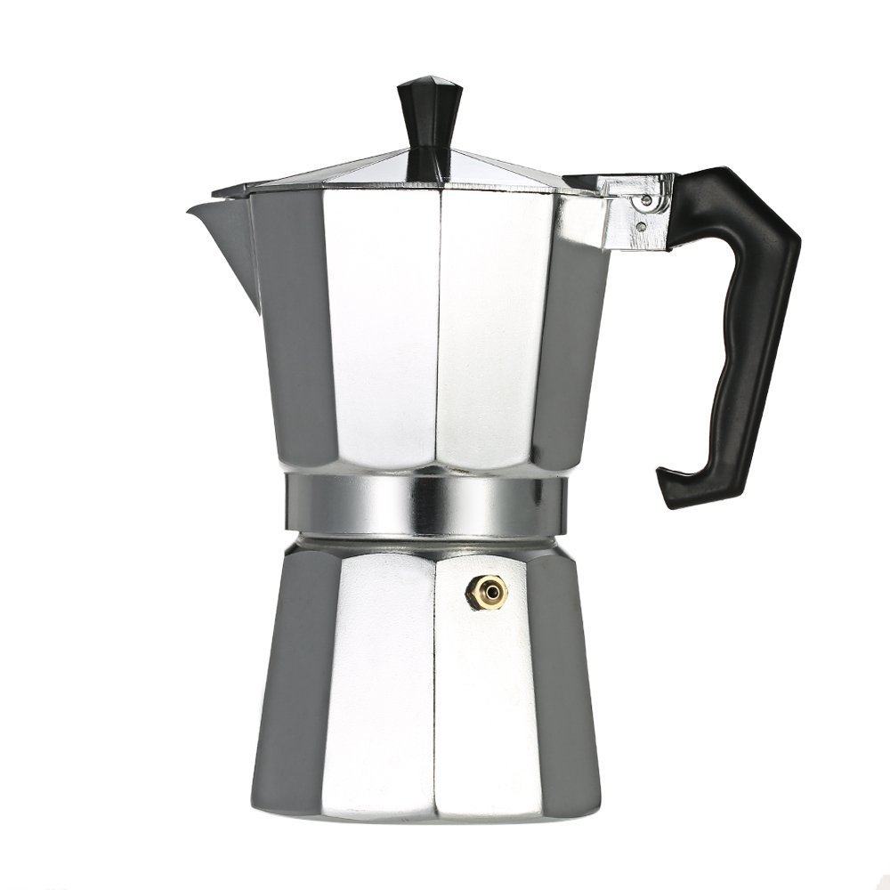 Decdeal 3-Cup Aluminum Espresso Percolator Coffee Maker Mocha Pot for Use on Gas or Electric Stove