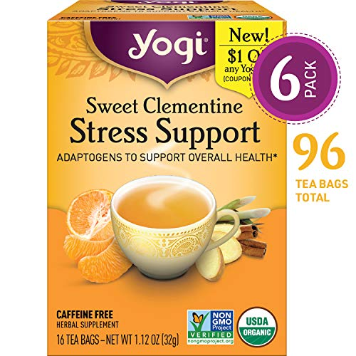 - Yogi Tea - Sweet Clementine Stress Support - Adaptogens to Support Overall Health - 6 Pack, 96 Tea Bags Total