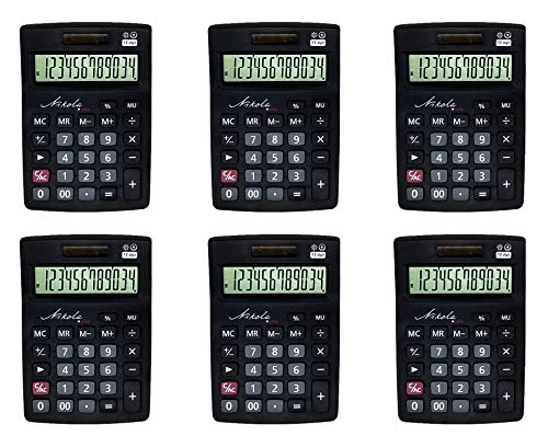 Nikola Works Bulk Premium Desktop Calculator Set Large 12 Digit Tilted Digital LCD Screen Dual Powered Solar and Battery Operated Standard Function Quiet Keys Operation (6-Pack) - Wholesale - Classroom Of Calculators Set