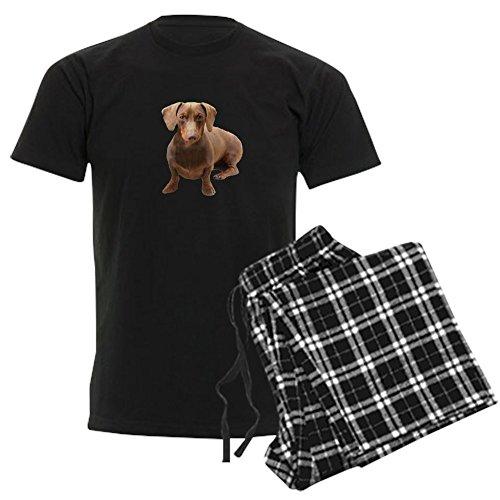 CafePress - Red Short Hair Dachshund Men's Dark Pajamas - Unisex Novelty Cotton Pajama Set, Comfortable PJ Sleepwear