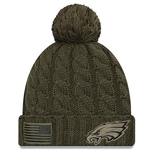 (New Era Women 2018 Salute to Service Sideline Cuffed Knit Hat - Olive (Philadelphia Eagles))