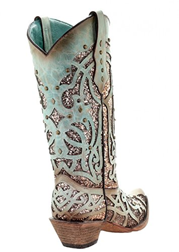 CORRAL Glitter Studs and C3332 Toe Mint Boots Snip Inlay Sxwr5SOqF