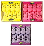 Marshmallow Peeps Pink, Purple, and Yellow Easter Bunnies 8 ct (Pack of 3)