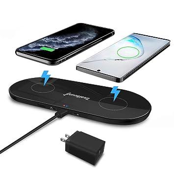 zealsound Cargador Inalámbrico Triple rápido, 10W/7.5W/5W Cojín de Carga de 3 Modos para 3 Dispositivos con Adaptador Quick USB 3.0, Estación de Carga ...