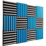 "Pro Studio Acoustics - Blue / Charcoal - 12""x12""x2"" Acoustic Wedge Foam Absorption Soundproofing Tiles - 12 Pack"