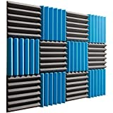 Pro Studio Acoustics - 12''x12''x2'' Acoustic Wedge Foam Absorption Soundproofing Tiles - Blue/Charcoal - 12 Pack