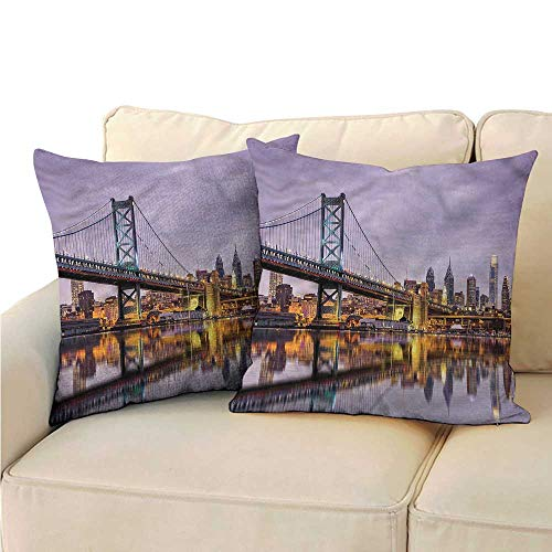 Godves Double-Sided Printing Pillowcase USA Ben Franklin Bridge Reflection Premium,Ultra Soft,Hypoallergenic,Breathable 24