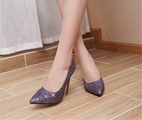 Brillante Vestir Primavera Stiletto Zapatos Mujer Boda De Alto Dulce Morado Elegante Tacón Mogeek Pumps Rhinestone x8wYFqBF
