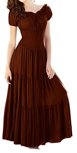 Peach Couture Gypsy Boho Cap Sleeves Smocked Waist Tiered Renaissance Maxi Dress