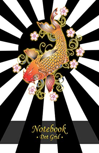 Japanese Notebook Journal: Dot Grid Ruled Blank Thick Cream Paper Numbered Pages: Sketchbook, Diary Planner Organizer, Notepad For Writing, Drawing; Koi Fish Art Black Design, Japan Rising Sun Book 2 - Quality High Japan Koi
