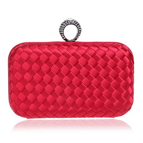 Bags Bag Women Material Ring Small Candy Wedding Purse Handbags Clutches Finger Fashion Day Evening YM1013red Diamonds Knitted FZIqEqxwA