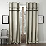COFTY Classic Faux Linen Thermal Insulated Blackout Curtain Panel Drapes - Nickle Grommet - Beige - 120Wx84L Inch (1 Panel)