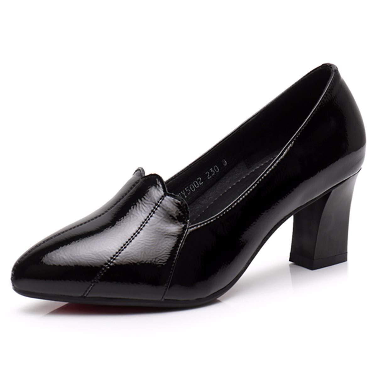 KPHY Damenschuhe/Lack Einzelne Einzelne Einzelne Schuhe Frühling Leder Damenschuhe Flachen Dicken 6 cm High Heels Wilde Skins.34 des - 36ff66