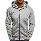 OWMEOT Men's Heavy Blend Fleece Hooded Sweatshirt (Gray, 3XL)