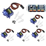 KeeYees 5pcs SG90 9G Micro Servo Motor with PCA9685 16 Channel 12 Bit PWM Servo Motor Driver IIC Module for Arduino Raspberry Pi RC Robot Arm Helicopter Airplane Remote Control