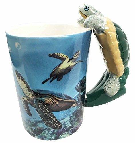 Ocean Marine Reef Giant Leatherback Sea Turtle 12oz Ceramic Mug Coffee Cup Home & Kitchen Decor Accessory - Turtle Cup