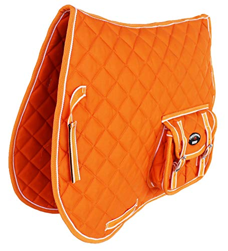 CHALLENGER Horse English Orange Quilted All-Purpose Saddle Pad w/Pockets 7261